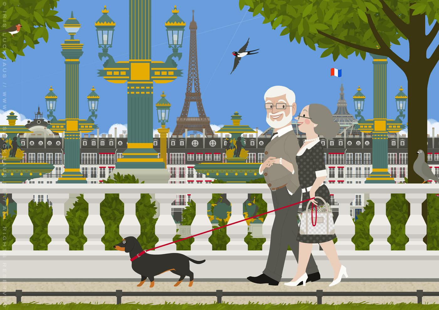 Zeichnung eines alten Pärchens mit Dackel, das einen Spaziergang durch Paris unternimmt und dabei an der Place de la Concorde vorbeikommt, von Iris Luckhaus