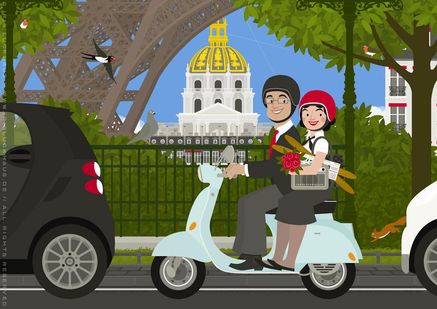 Zeichnung von einem schicken Paar, das auf einem Vespa Motorroller mit Radio und Baguette einen Ausflug durch Paris unternimmt und dabei am Eiffelturm und Invalides vorbeikommt, von Iris Luckhaus