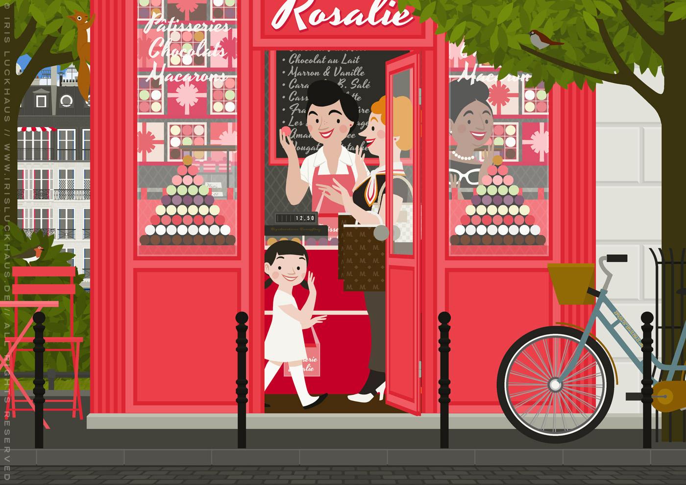 Zeichnung von zwei Freundinnen und Touristinnen, die in einer rosa Patisserie in Paris ganz beglückt und aufgeregt Macarons probieren