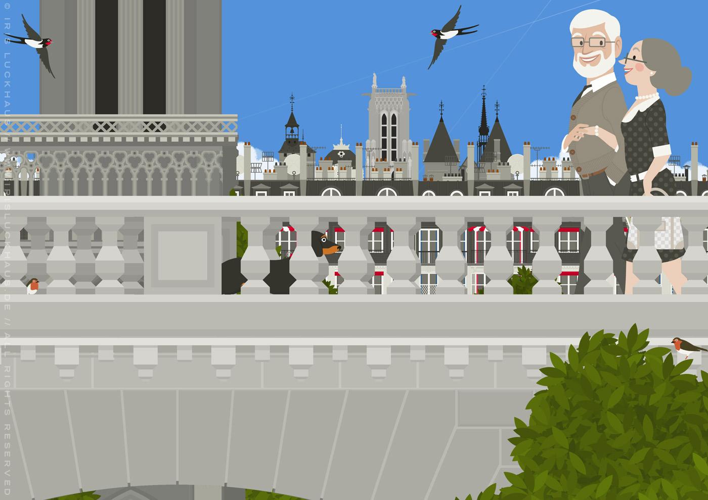 Zeichnung eines alten Pärchens mit Dackel, das bei einem Spaziergang durch Paris über die Brücken der Seine läuft und dabei die Notre Dame entdeckt