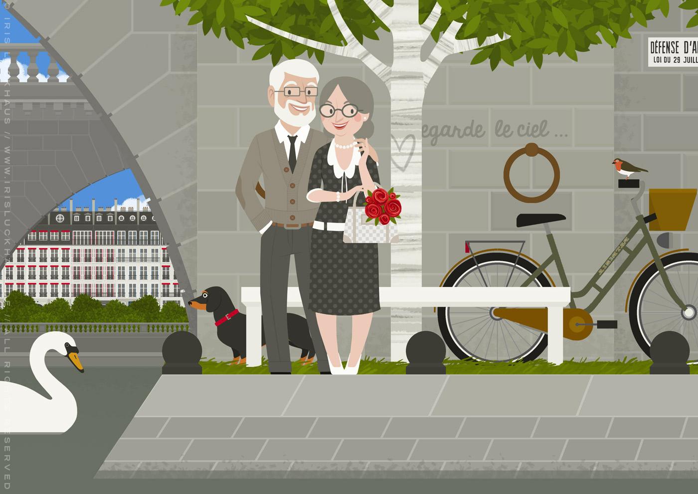 Zeichnung eines alten Pärchens mit Dackel, das bei einem Spaziergang durch Paris die Quais der Seine entdeckt und dort ein altes Herz in der Rinde einer Birke wiederfindet, von Iris Luckhaus