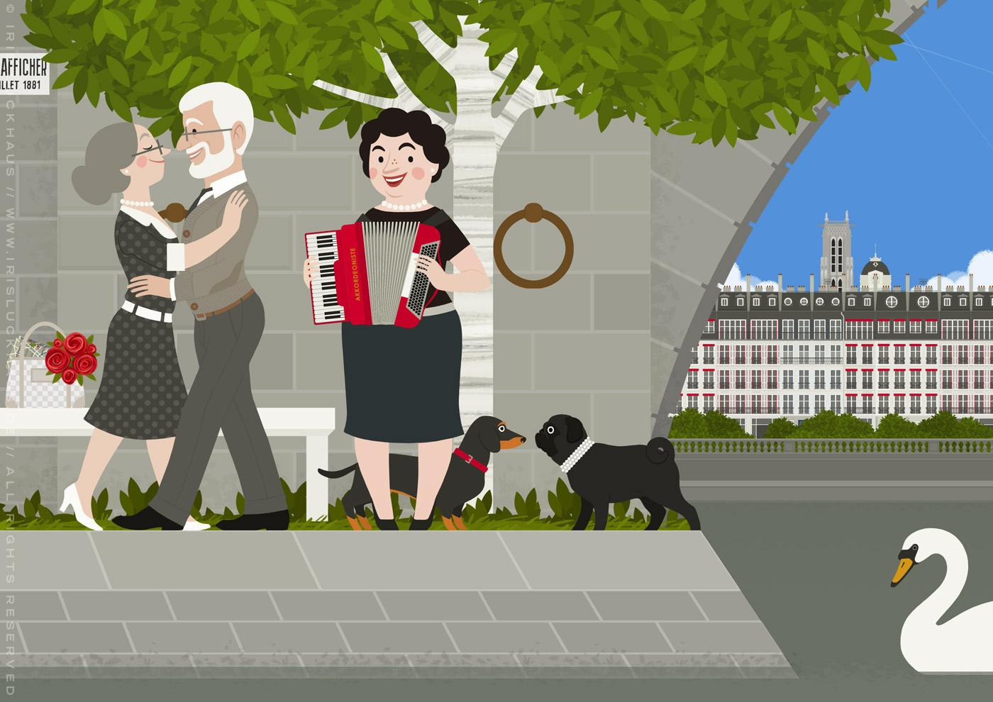 Zeichnung eines alten Pärchens mit Dackel, das bei einem Spaziergang durch Paris auf den Quais der Seine eine Akkordeonistin mit Mops trifft und bei deren Musik einen Tanz wagt