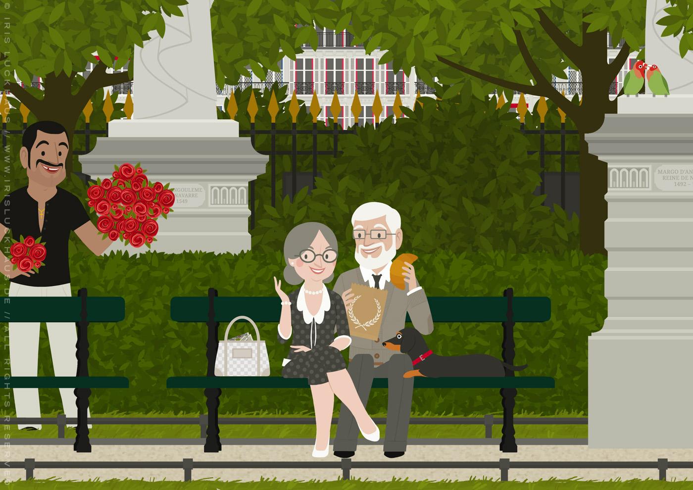 Zeichnung eines alten Pärchens mit Dackel, das bei einem Spaziergang durch Paris auf einer Bank im Jardin du Luxembourg Croissants isst und dabei einem Rosenverkäufer begegnet