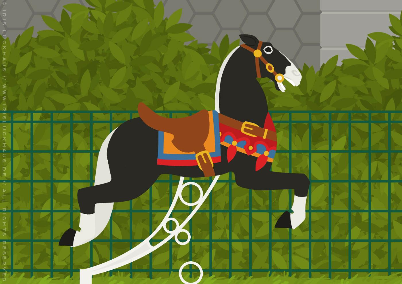 Ausschnitt aus der Zeichnung eines Karussells mit Pferdchen aus Holz am Montmarte in Paris