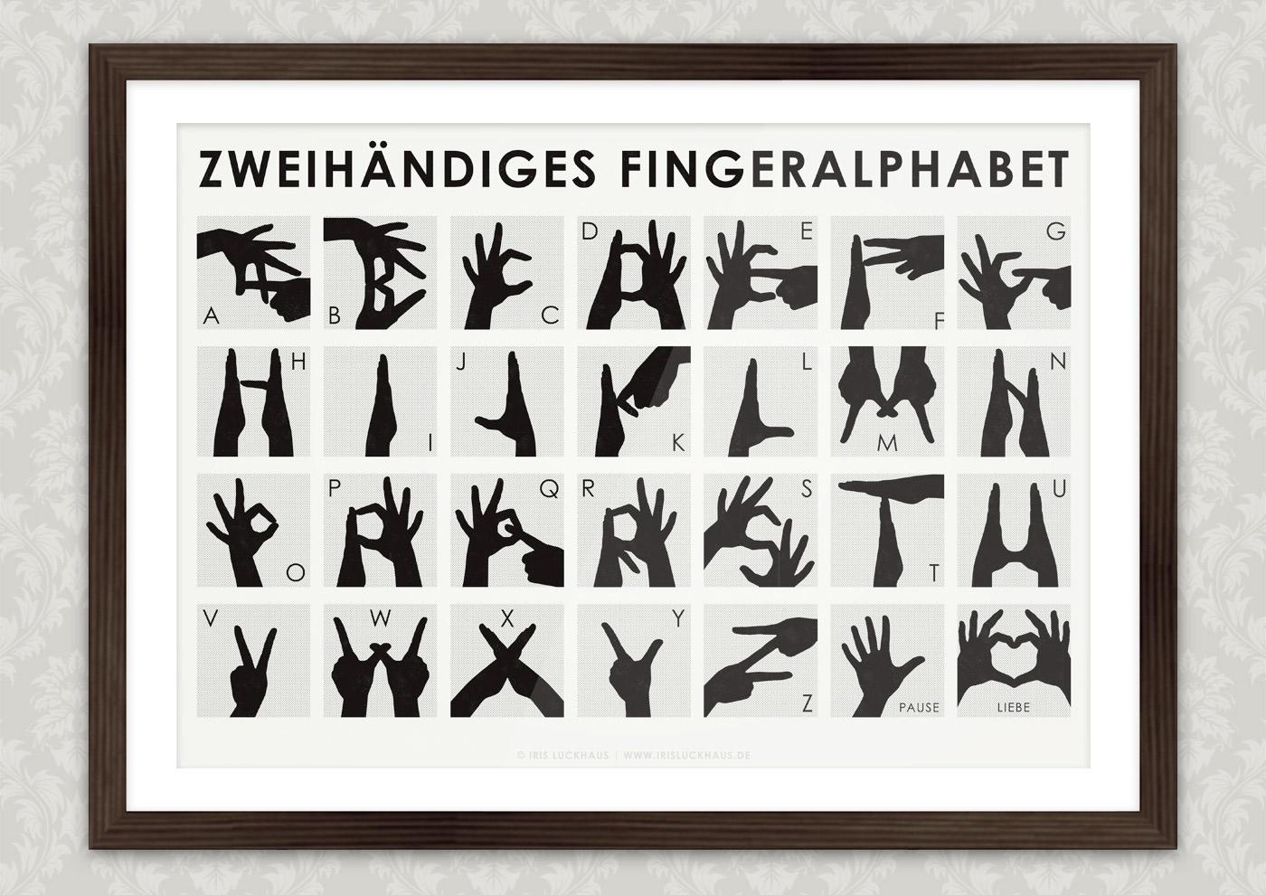 Poster mit Anleitung zum zweihändigen Fingeralphabet