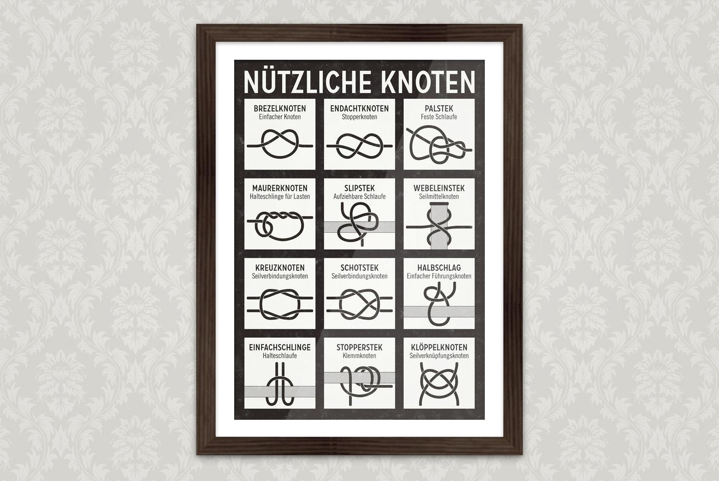 Poster mit einer illustrierten Anleitung zum Binden von nützlichen Knoten und Seemannsknoten