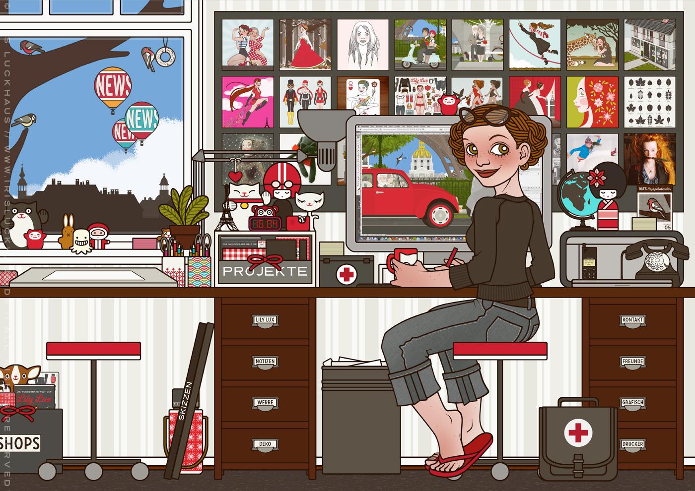 Profilbild mit Selbstbildnis der Illustratorin Iris Luckhaus bei der Arbeit in ihrem Büro in Wuppertal