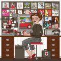 Profilbild mit Selbstbildnis der Illustratorin, Grafikerin und Designerin Iris Luckhaus bei der Arbeit in ihrem Büro in Wuppertal