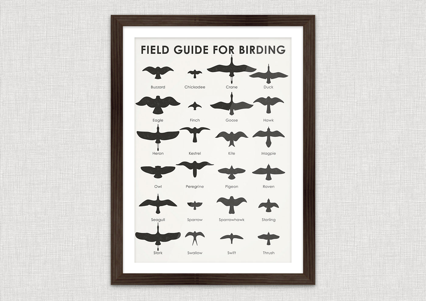 A practical sheet that helps you to easily identify 24 common bird species, such as albatros, buzzard, chickadee, crane, duck, eagle, finch, goose, hawk, heron, kestrel, kite, magpie, peregrine, pigeon, raven, seagull, sparrow, sparrowhawk, starling, stork, swallow, swift or thrush, by their silhouette in the air.