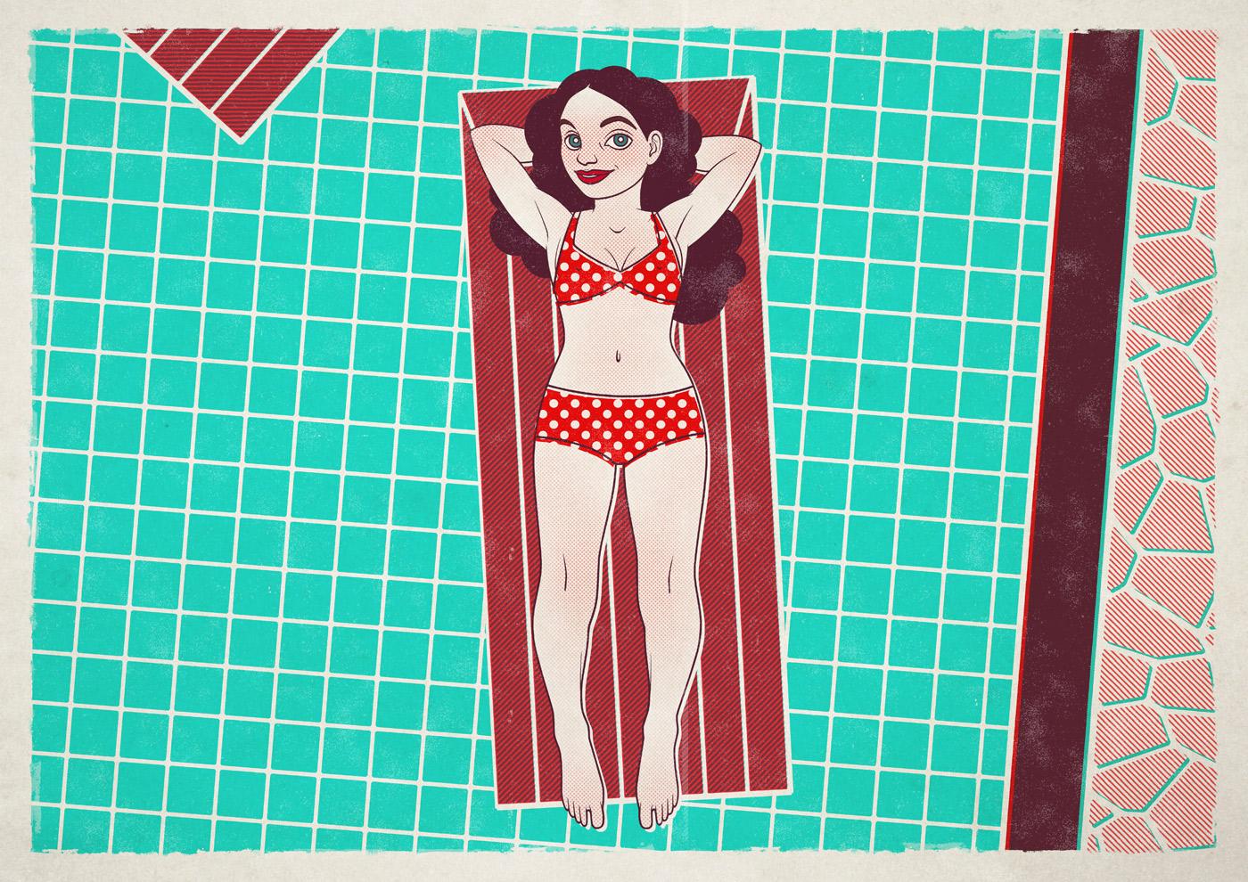 Sommerliche Illustration eines Mädchens im Bikini auf einer Luftmatratze im Pool im Siebdruck-Stil