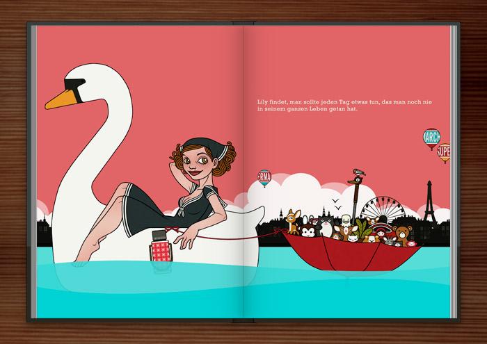 Zeichnung vom Sonntagsausflug eines Mädchen im Schwanentretboot mit Schirmboot und Figuren auf dem See vor der Stadt im Buch Die wunderbare Welt der Lily Lux