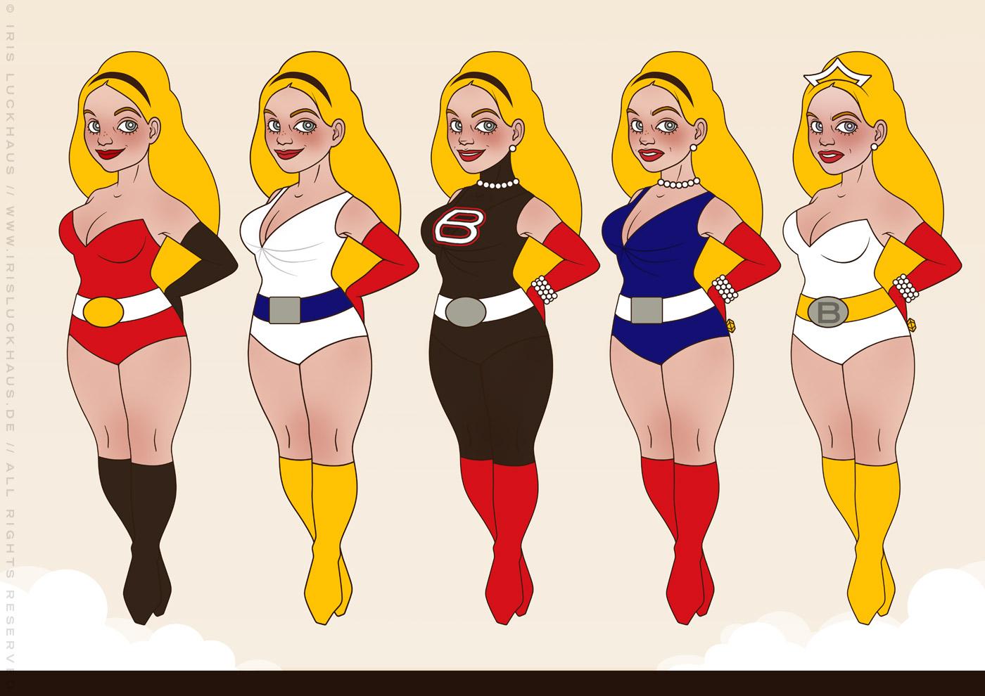 Character Design für die Superheldin Barbararella für Barbara Magazin