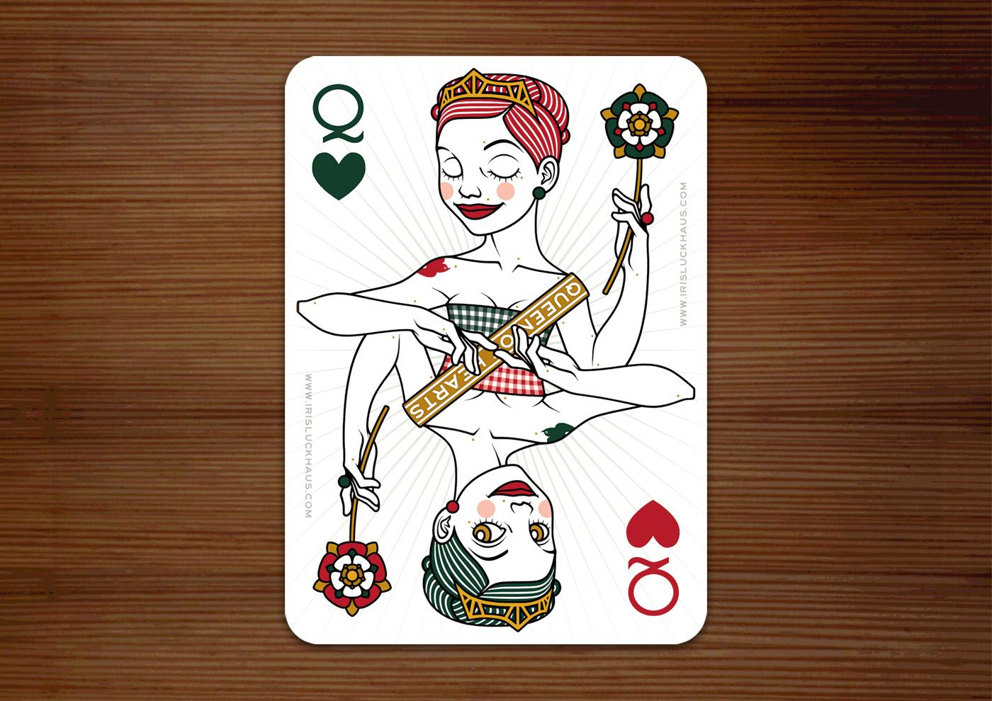 Herzdame Spielkarte im Zeixs 52 Aces Pokerdeck von Iris Luckhaus