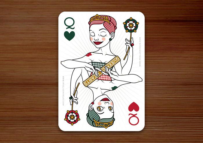 Herzdame Spielkarte im 52 Aces Pokerdeck