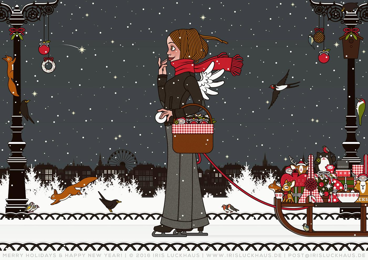 Lily Lux Weihnachtskarte von Iris Luckhaus mit der Zeichnung einer Eisläuferin, die zur Feier von Weihnachten mit Schlittschuhen, Geschenken, Schneeball und Flügeln, über den zugefrorenen See im winterlichen Stadtpark läuft