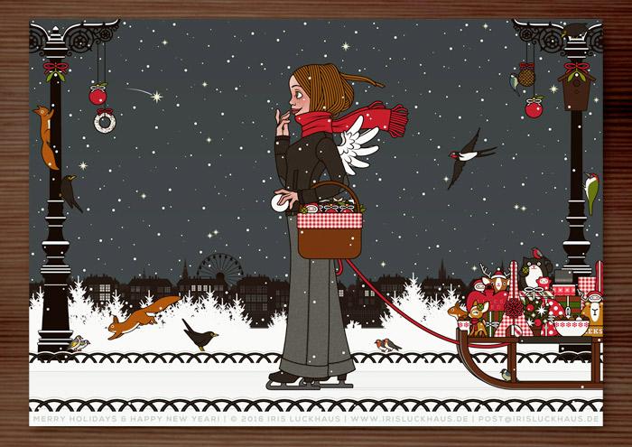 Lily Lux Weihnachtskarte mit Schlittschuhen, Geschenken, Schneeball und Flügeln, auf dem Weg über den See im winterlichen Park