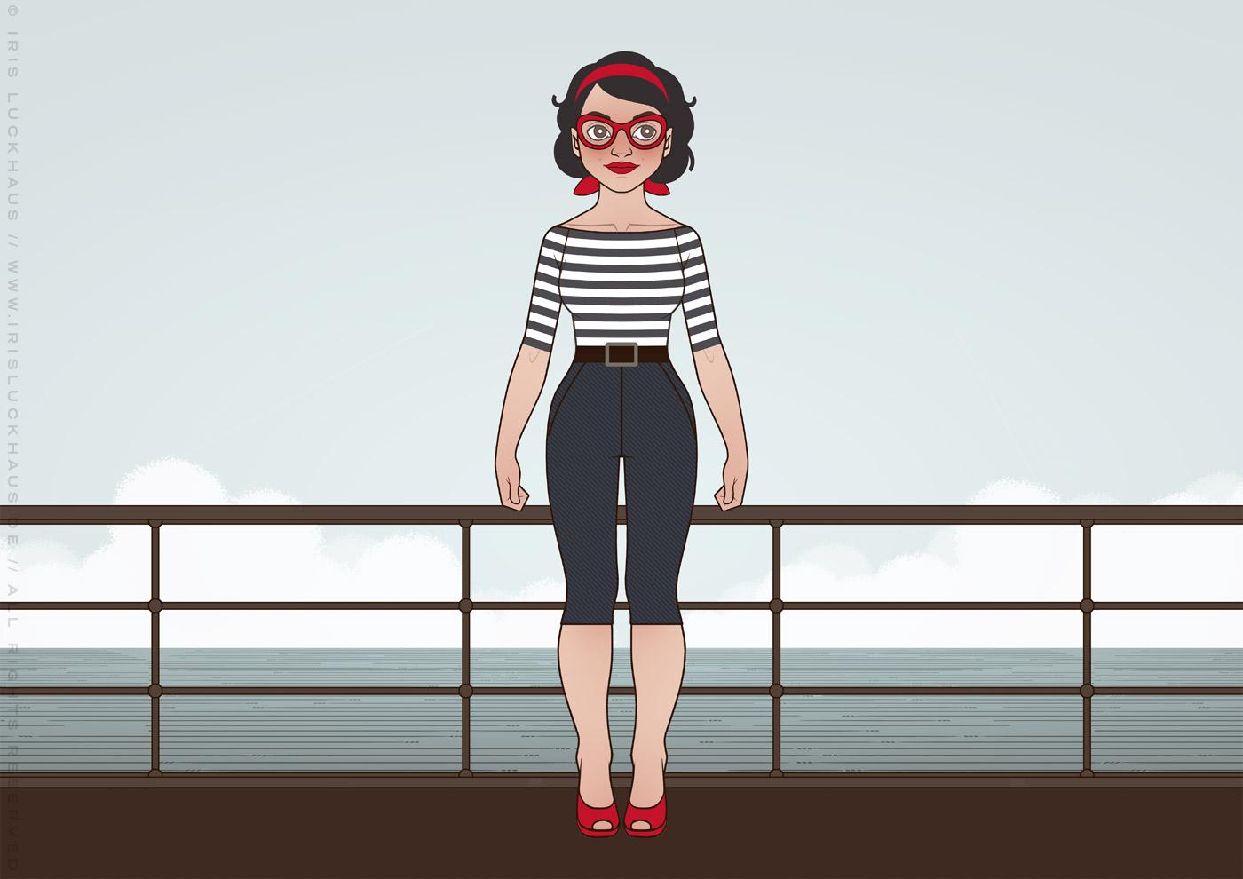 Character Design und Styling für Mimi Fiedler im Buch Balkantherapie