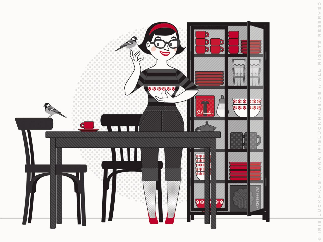 Illustration für Du hast das Wort, Schätzchen! 100 charmante Geschichten rund um die Sprache im Duden Verlag von Iris Luckhaus