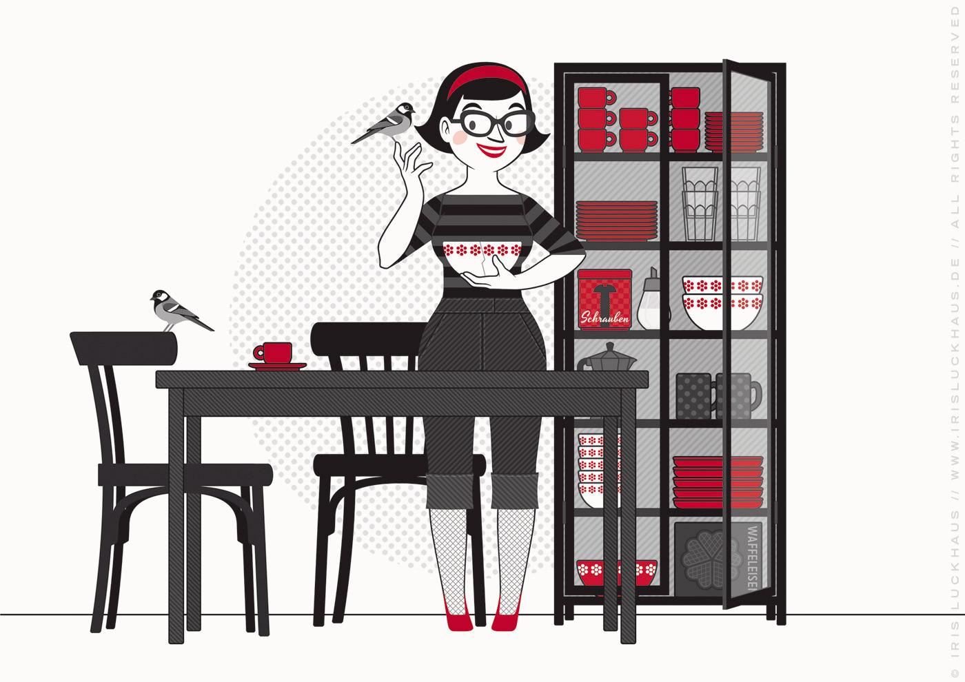 Illustration von Iris Luckhaus zu Macke, Meise, Nicht alle Tassen im Schrank oder Schraube locker für das Buch Du hast das Wort, Schätzchen von Rita Milke im Duden Verlag