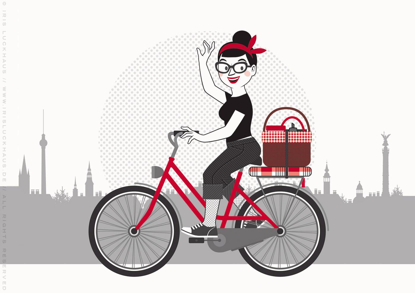 Illustration mit einer Radfahrerin, die ins Blaue fährt, für Du hast das Wort, Schätzchen! 100 charmante Geschichten rund um die Sprache im Duden Verlag von Iris Luckhaus