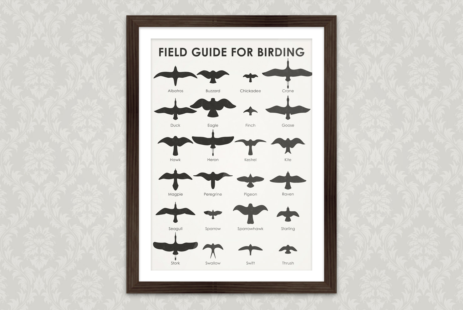 Poster with an infographic as identification sheet for common flying bird silhouettes auch as albatros, buzzard, chickadee, crane, duck, eagle, finch, goose, hawk, heron, kestrel, kite, magpie, peregrine, pigeon, raven, seagull, sparrow, sparrowhawk, starling, stork, swallow, swift, thrush