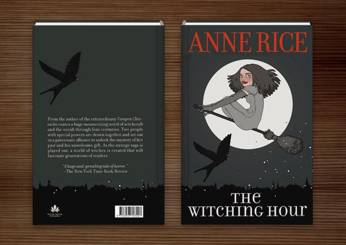 Buchumschlag mit der Illustration Hexenstunde mit einer mädchenhaften Hexe, die auf einem Besen und von einer Schwalbe begleitet vor dem Vollmond durch den Nachthimmel fliegt
