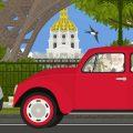 Altes Paar mit Dackel, Koffern und rotem VW Käfer unterwegs durch Paris, vorbei an Eiffelturm und Invalides