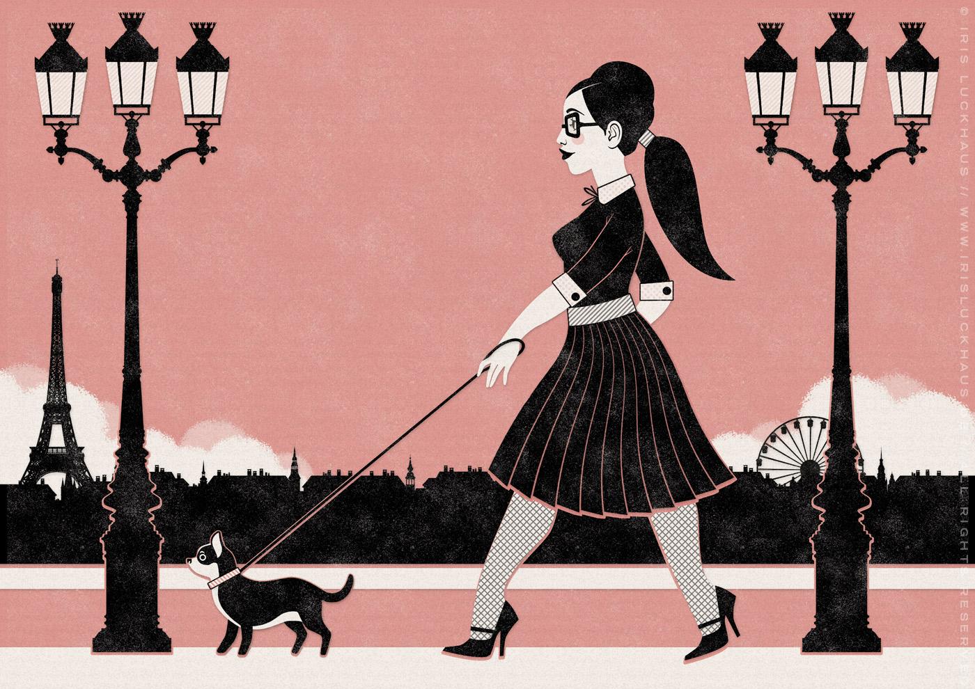 Retroparis Illustration eines Mädchens mit Brille beim Spaziergang mit ihrem kleinen Chichuahua Hund durch Paris im Siebdruck-Stil