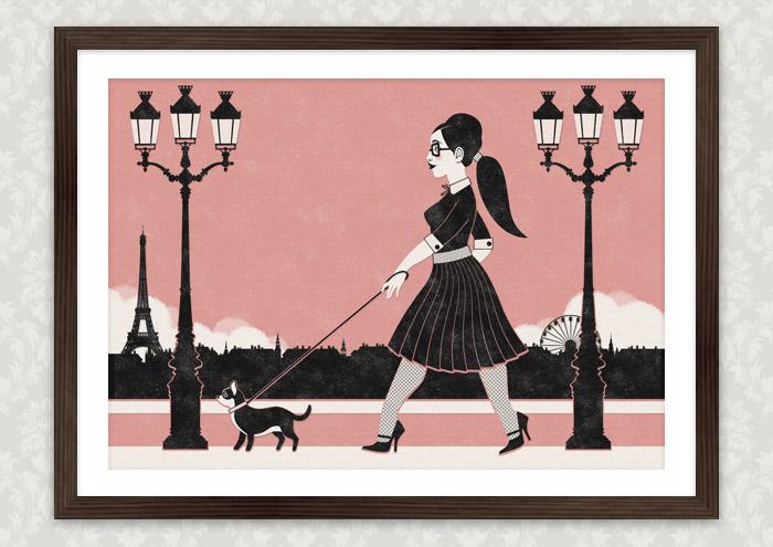 Retroparis Illustration eines Mädchens beim Spaziergang mit ihrem kleinen Hund durch Paris