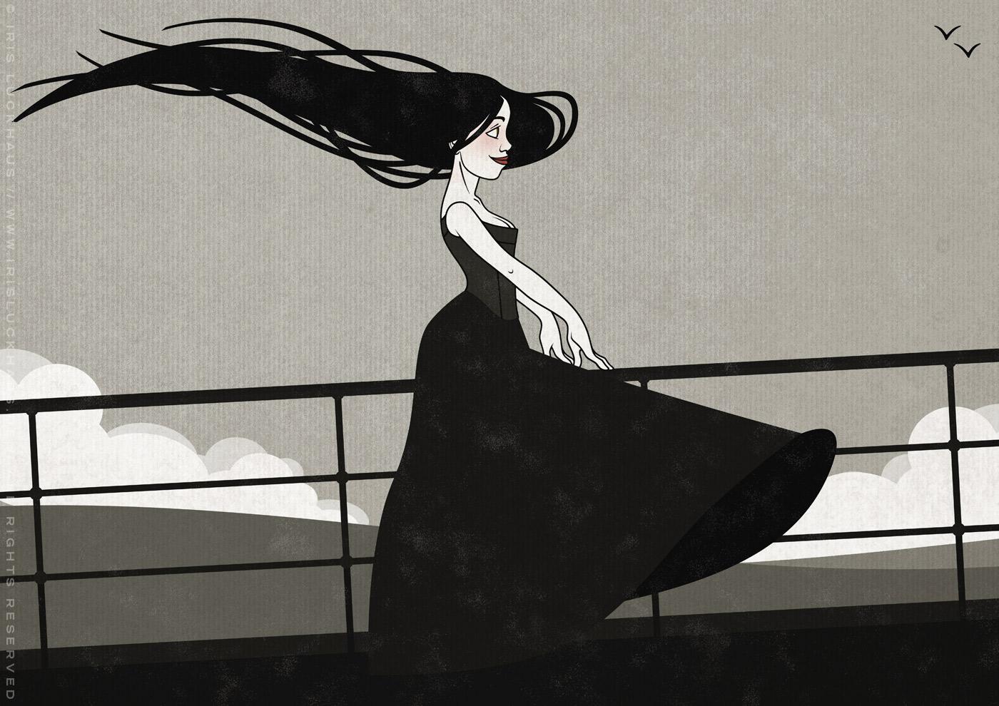Zeichnung mit Tusche und Collage von einem koketten Mädchen im Sturm an der Relings an Bord eines Ozeandampfers oder Schiffs auf See mit hohen Wellen als Seestück von Iris Luckhaus
