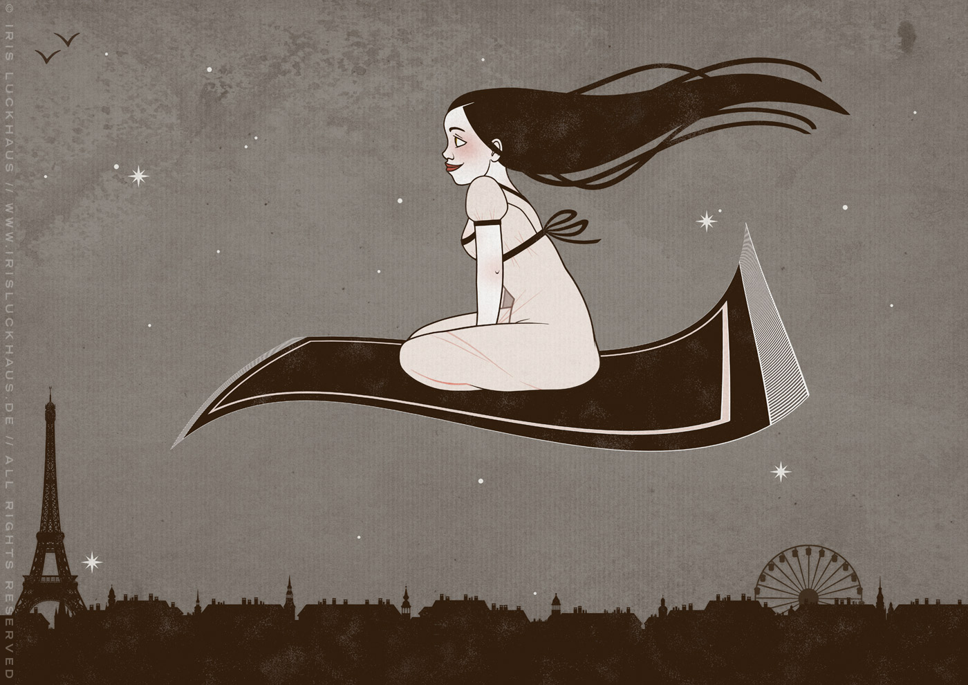 Illustration eines Mädchens auf einem fliegenden Teppich mit Simsalabim, Abrakadabra, Hokuspokus und Jicker für Märchen von der Illustratorin Iris Luckhaus