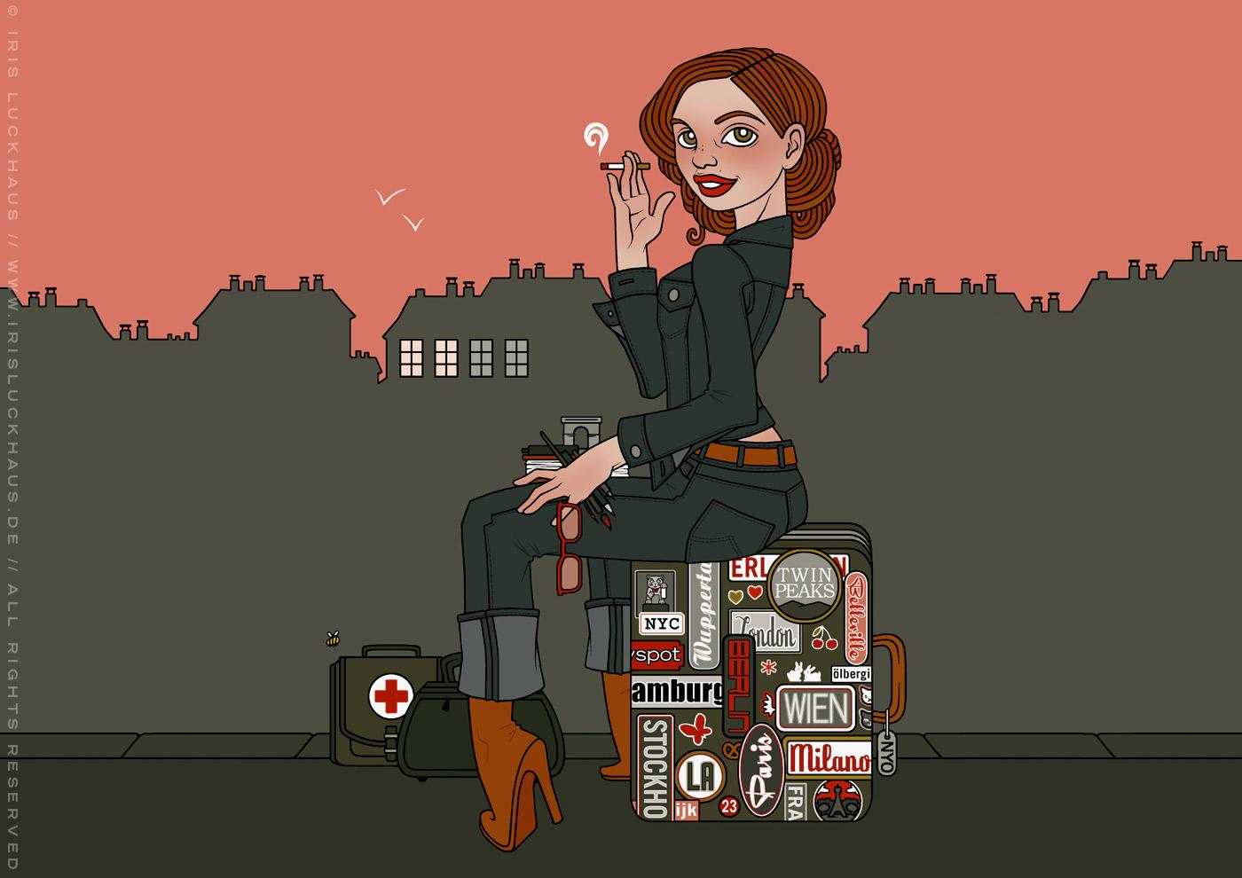 Illustration eines Mädchens auf Reisen, das in Jeans auf einem Koffer voller Erinnerungen und Souvenirs sitzt, wartet und raucht