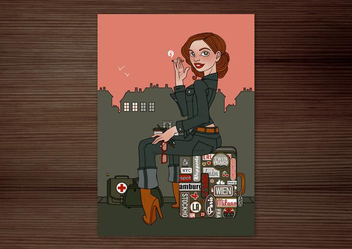 Postkarte eines Mädchens auf Reisen, das in Jeans auf einem Koffer voller Erinnerungen und Souvenirs sitzt, wartet und raucht