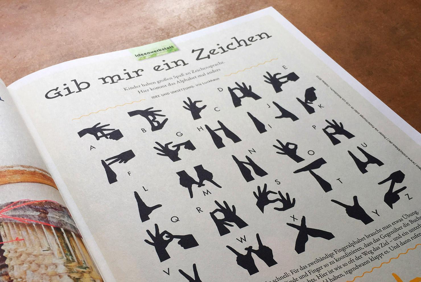 Fingeralphabet im Eltern Family Magazin