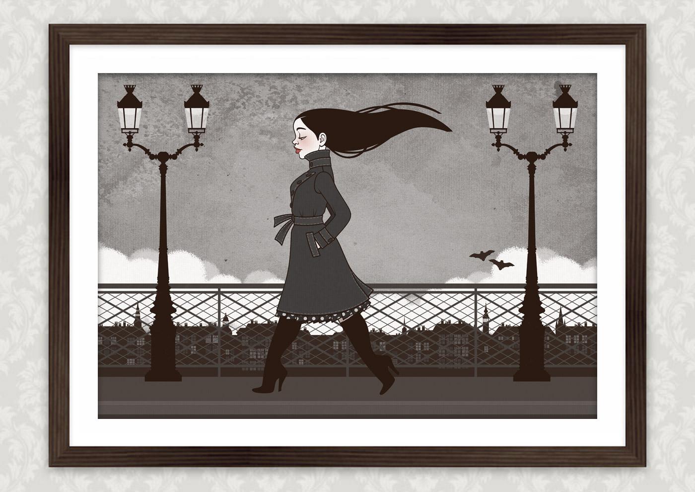Kunstdruck vom Vampirmädchen Carmilla beim Abendspaziergang über die Brücken von Paris, mit Fledermäusen und Regenhimmel