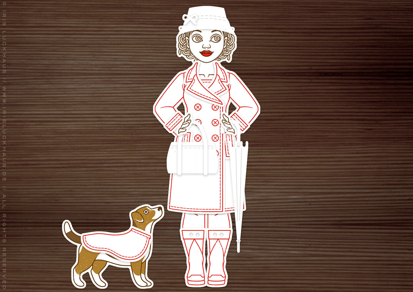 Herbst-Set aus Stempeln und Stanzen für die DIY-Ankleidepuppe Gerti von Charlie und Paulchen, mit Stempeln, Stanzen und Prägen für Papier und Stoff, zur Nutzung auf Postkarten und Grußkarten, mit Regenmantel, Regenhut, Schirm und Hund.