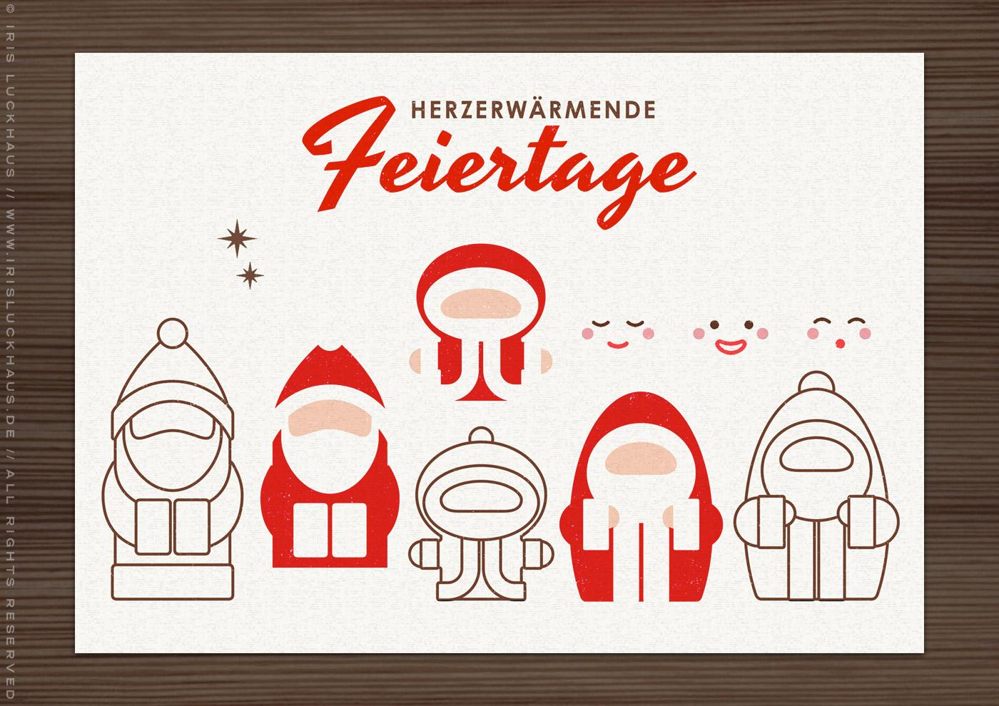 DIY Stempel und Stanzen zum Basteln von Karten und Geschenkanhängern mit Nikolaus, Weihnachtsmann und Santa