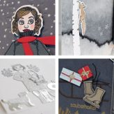 Winter cards crafted with dressup doll Gerti