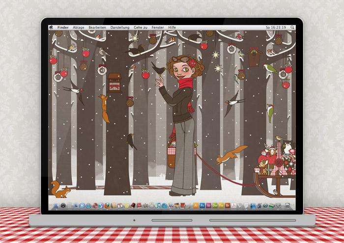 Lily Lux Wallpaper mit Wald, Vögeln, Eichhörnchen und Futter im Winter