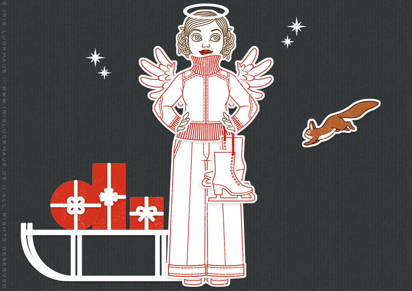 Winter-Set aus Stempeln und Stanzen für die DIY-Ankleidepuppe Gerti von Charlie und Paulchen, mit Stempeln, Stanzen und Prägen für Papier und Stoff, zur Nutzung auf Postkarten und Grußkarten, mit Strickjacke, Schlittschuhen, Engelsflügeln, Heiligeschein, Geschenken und Eichhörnchen