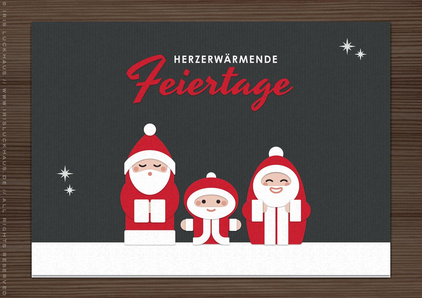 DIY Stempel und Stanzen zum Basteln von Karten, Postkarten und Geschenkanhängern mit niedlichem Nikolaus, süßem Weihnachtsmann und bezaubernden Santa von Iris Luckhaus für Charlie & Paulchen