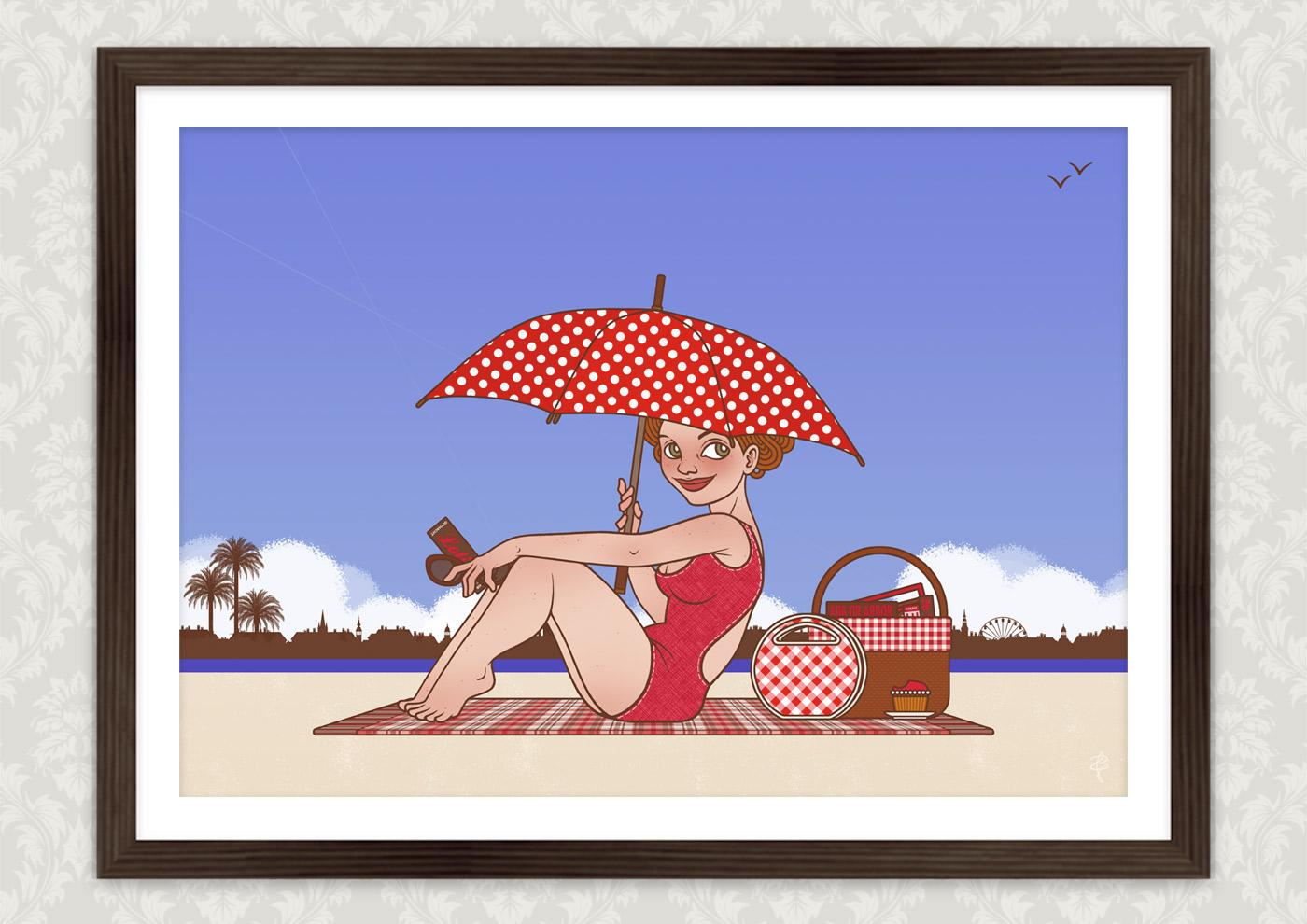 Freie Arbeit Lola am Strand, mit einem Mädchen unter einem Sonnenschirm in der Hitze eines Sommertages, illustriert im nostalgischen Retro-Look