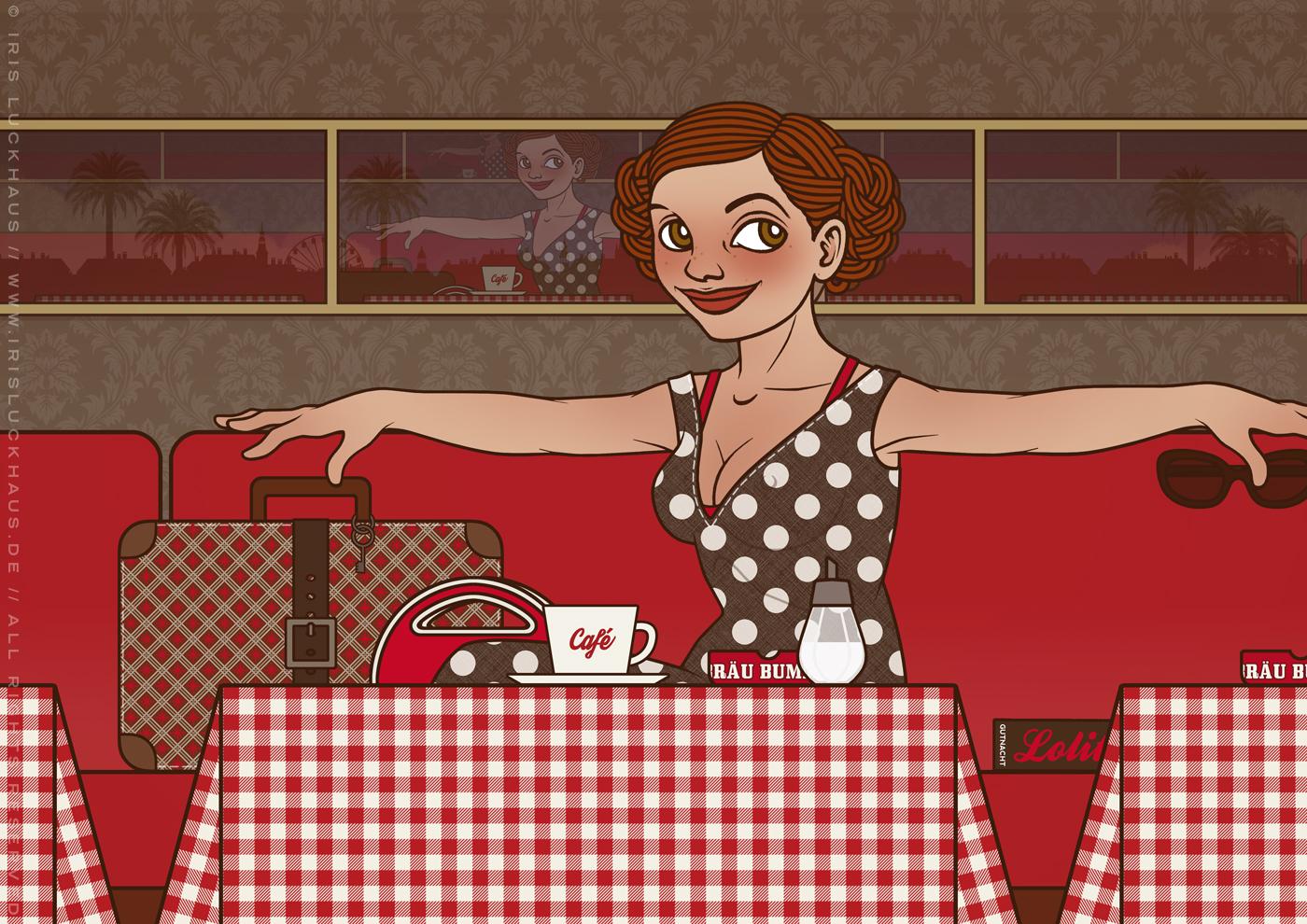 Lola im Café, von Iris Luckhaus