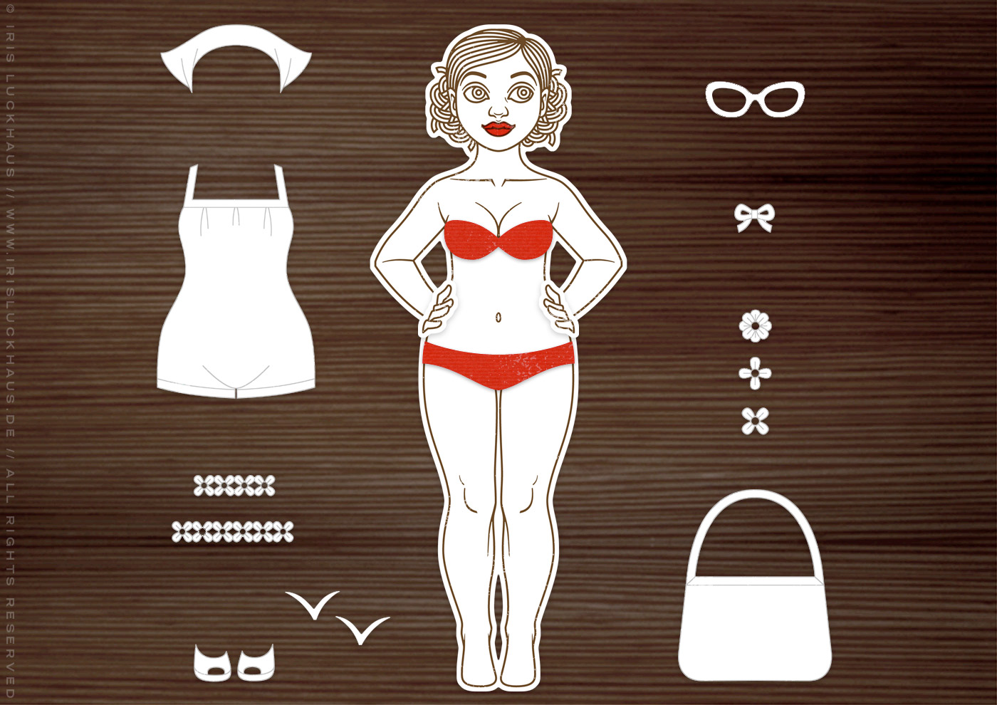 DIY Stempel und Stanzen für Anziehpuppe Gerti geht baden im Sommer mit Badeanzug, Badetasche, Bikini, Sonnenbrille und Peeptoes