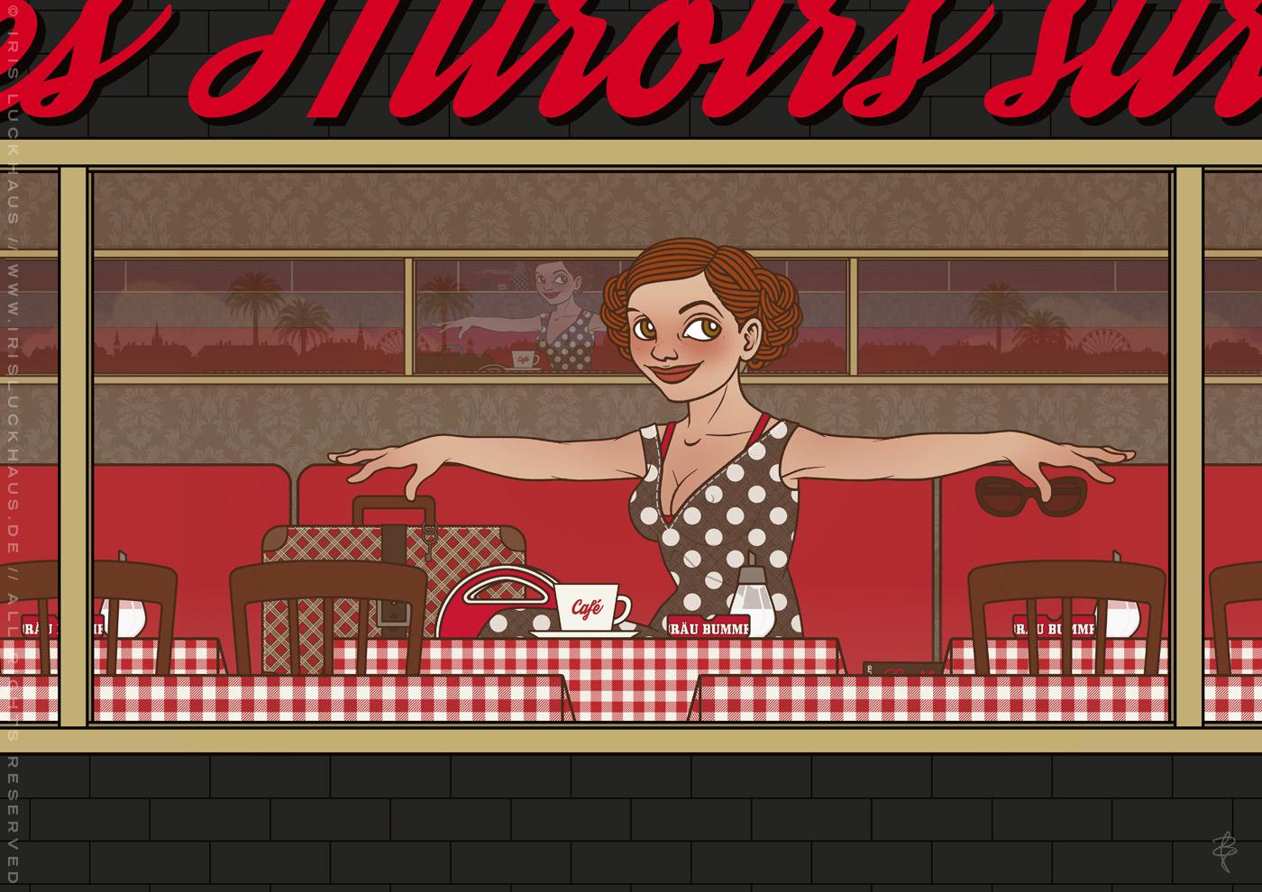 Freie Arbeit Lola im Cafe, mit einem Mädchen, das an einem Sommerabend in einer Brasserie oder einem Bistro auf die Liebe wartet, illustriert im nostalgischen Retro-Look mit Sepia