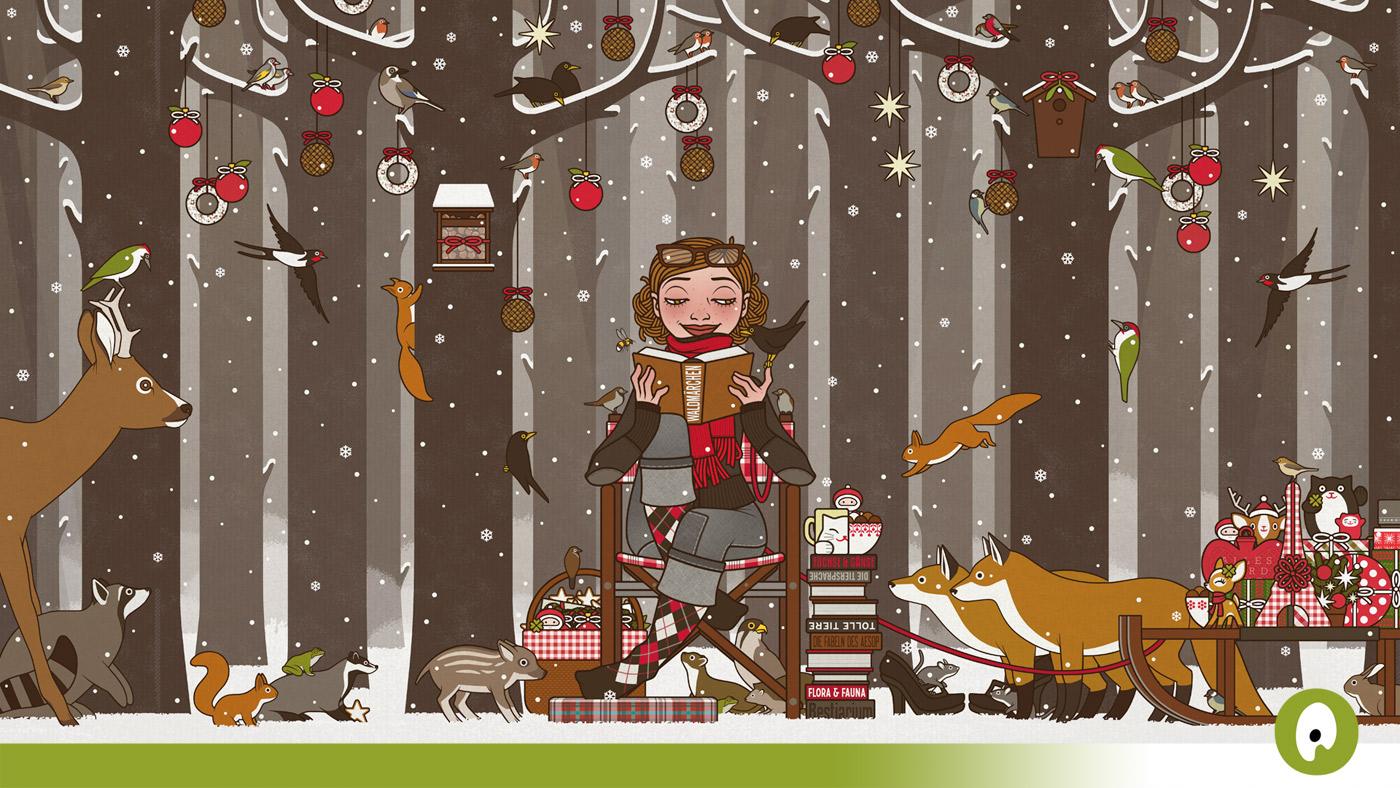 Präsentation der Illustratoren Organisation von Iris Luckhaus mit der Zeichnung von einem Mädchen, das im Winter im Wald den Tieren vorliest und den Wald schmückt, für die Frankfurter Buchmesse
