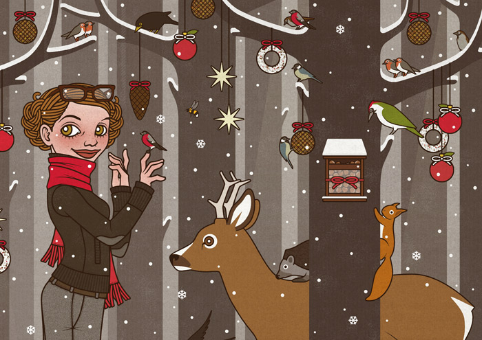 Zeichnung von einem Mädchen, das im Winter und zur Feier des Advent mitten im winterlich verschneiten Wald Tieren wie Eichhörnchen, Füchsen, Rehen, Singvögeln und Amseln vorliest und den Wald außerdem mit Meisenknödeln, Meisenringen und Vogelfutter schmückt, für Lily Lux von Iris Luckhaus