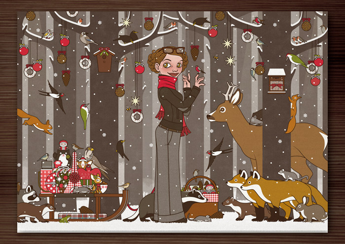 Karte mit Zeichnung von einem Mädchen, das im Winter und zur Feier des Advent mitten im winterlich verschneiten Wald Tieren wie Eichhörnchen, Füchsen, Rehen, Singvögeln und Amseln vorliest und den Wald außerdem mit Meisenknödeln, Meisenringen und Vogelfutter schmückt, für Lily Lux von Iris Luckhaus