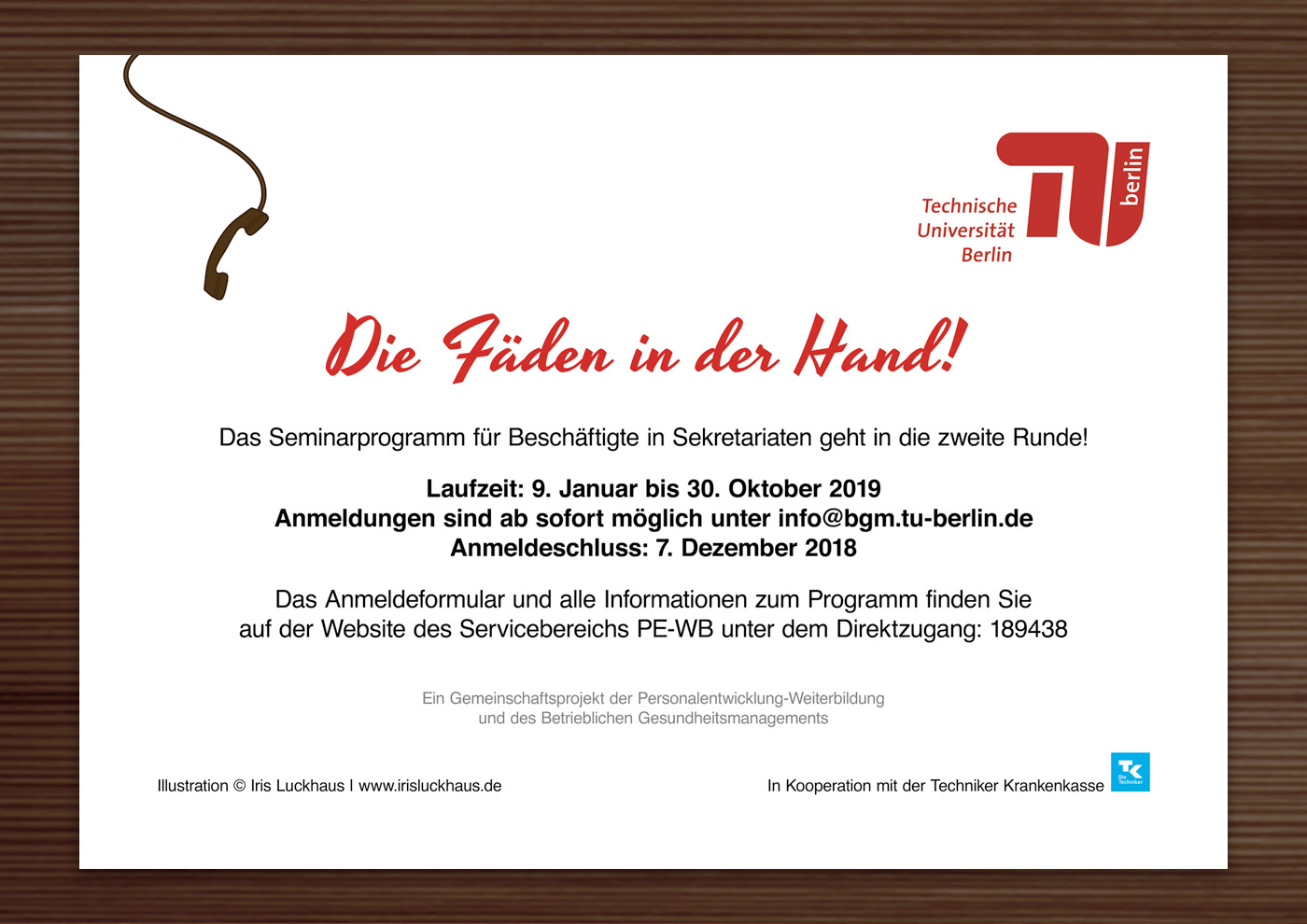 Sekretärin für eine Einladungskarte der TU Berlin – Alle Fäden in der Hand! Tippst Du noch oder managst Du schon?
