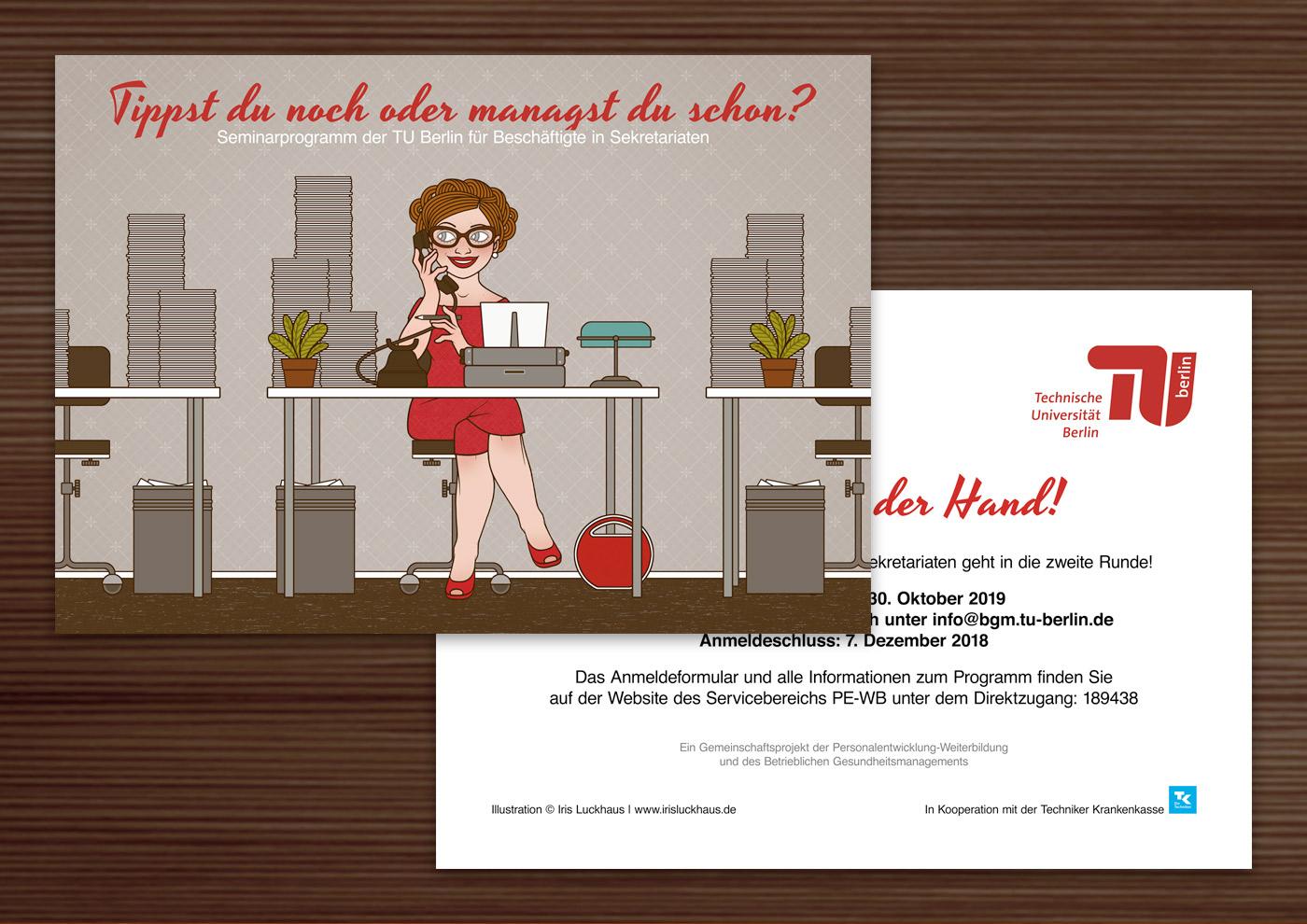 Sekretärin, Tippse oder Managerin Postkarte für TU Berlin